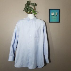 Nordstrom Blue Button Up Long Sleeve Cotton Shirt